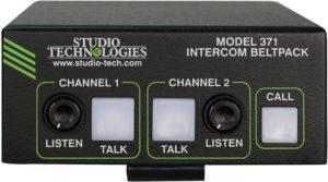 Model 371 Intercom Beltpack: Dante® Technology, Two Channels, 4-Pin Male Headset Connector