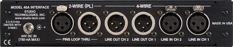 Model 45A 2-Wire Analog Audio to 4-Wire Analog Audio Interface