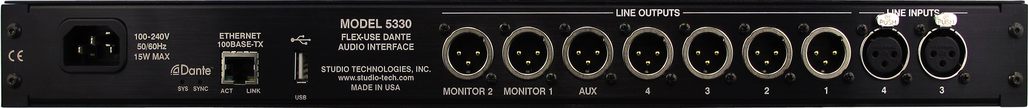 Model 5330 Flex-Use Dante Audio Interface