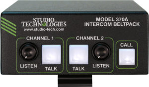 Model 370A Intercom Beltpack: Two Channels, 5-Pin Female Headset Connector